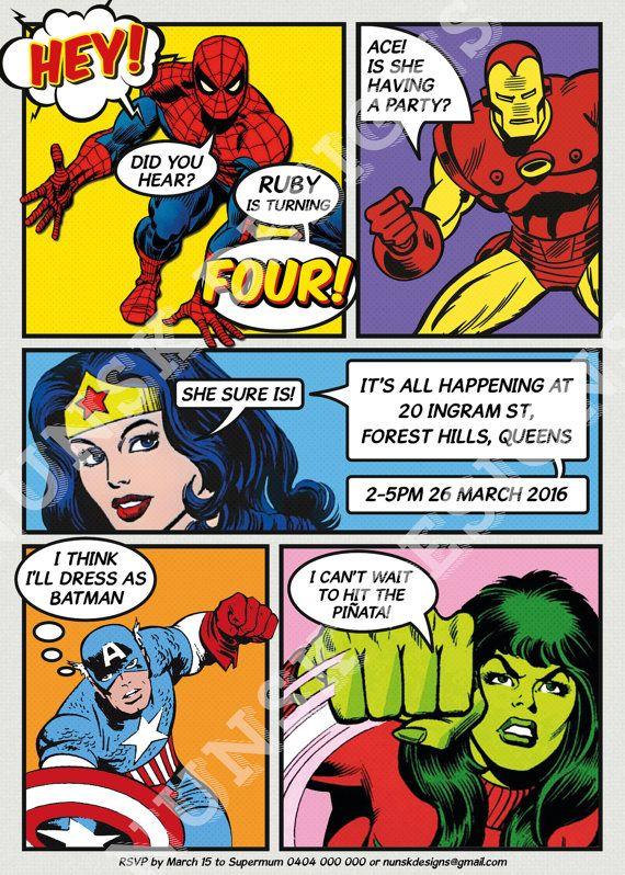 SUPERHERO Birthday Invitation Superhero Party Kids Custom