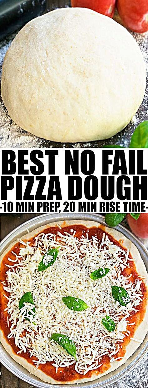 Quick and easy HOMEMADE PIZZA DOUGH recipe from scratch, requiring basic ingredients and
