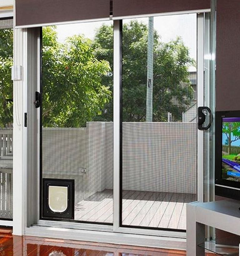 Interior Minimalist Metal Dog Door For Sliding Glass Door