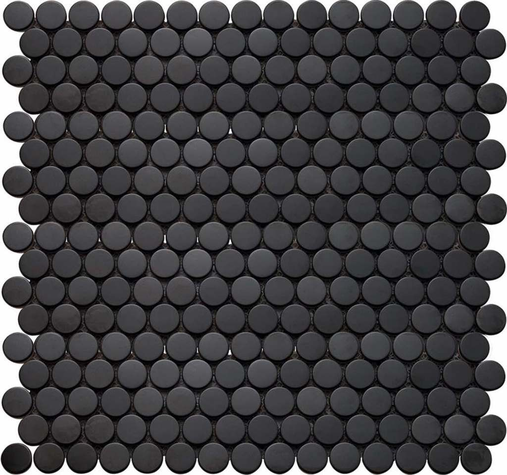 Penny Round Mosaic Tile Black Matte In 2020 Penny Tile Penny