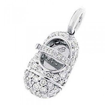 Aaron Basha White Gold Pave Diamond Baby Shoe Charm