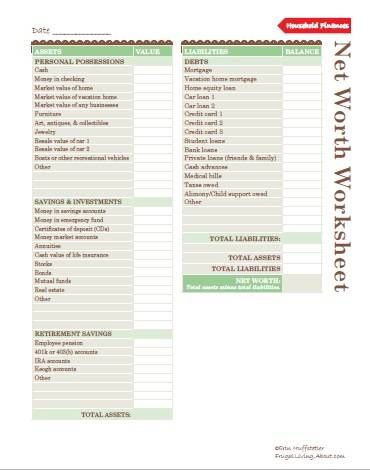 How Can Food Planners Help You Save Money? Net worth, Frugal and - net worth spreadsheet