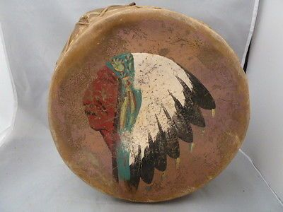 RARE-NATIVE-AMERICAN-INDIAN-DRUM-PAINTED-HIDE-TOPS-SIDES-GREAT