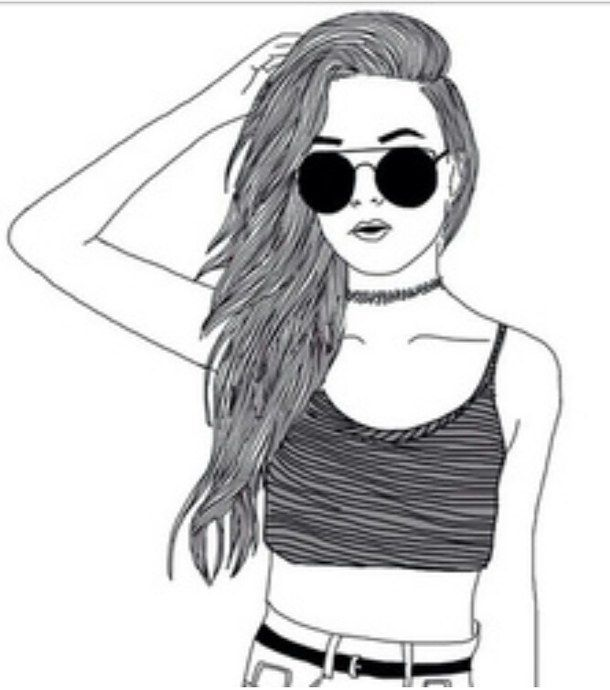 Black And White Drawing Fashion Girl Heart It Outline Outlines