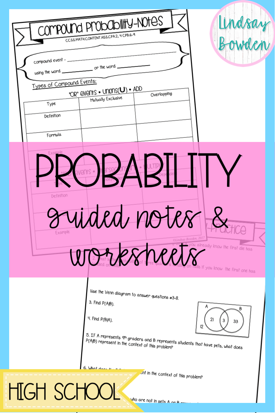Compound And Conditional Probability Lesson These Guided Notes And Worksheets Include Al Probability Worksheets Probability Lessons High School Geometry Notes [ 1350 x 900 Pixel ]
