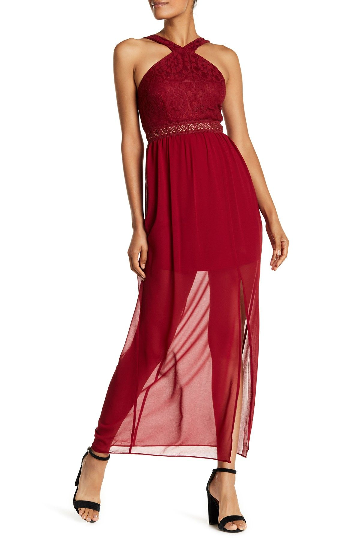 Amy byer lace vneck chiffon maxi dress juniors products