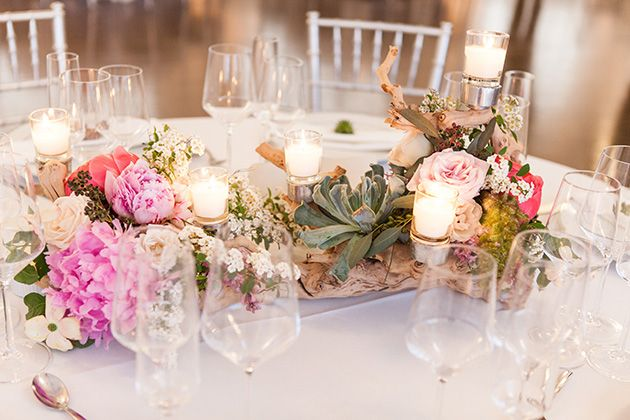 Brides A Comfortable And Colorful Waterfront Wedding In Rhode Island Centrepiece FlowersSucculent CenterpiecesDriftwood