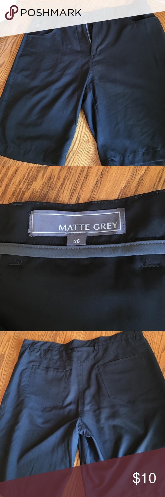 """Matte Grey golf shorts waist size 36 Light weight golf shorts. Worn once. Size 36 with 10"""" inseam. Matte Grey Shorts Flat Front"""