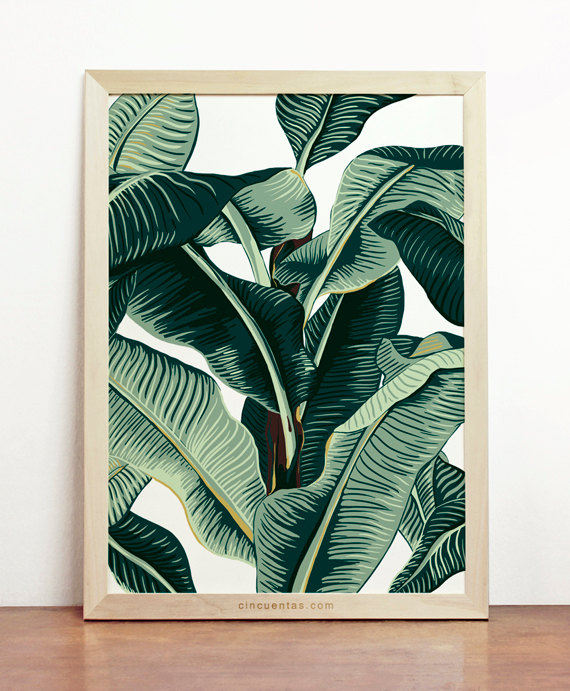 banana leaf print tropical poster palm tree art affiche nature beach