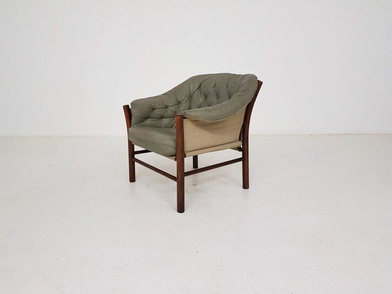 Peachy Green Leather Scandinavian Modern Lounge Chair By Gote Mobel Dailytribune Chair Design For Home Dailytribuneorg
