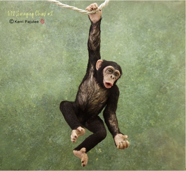 Dollhouse Miniature 1:12 swinging Chimp #2 (by Kerri Pajutee)