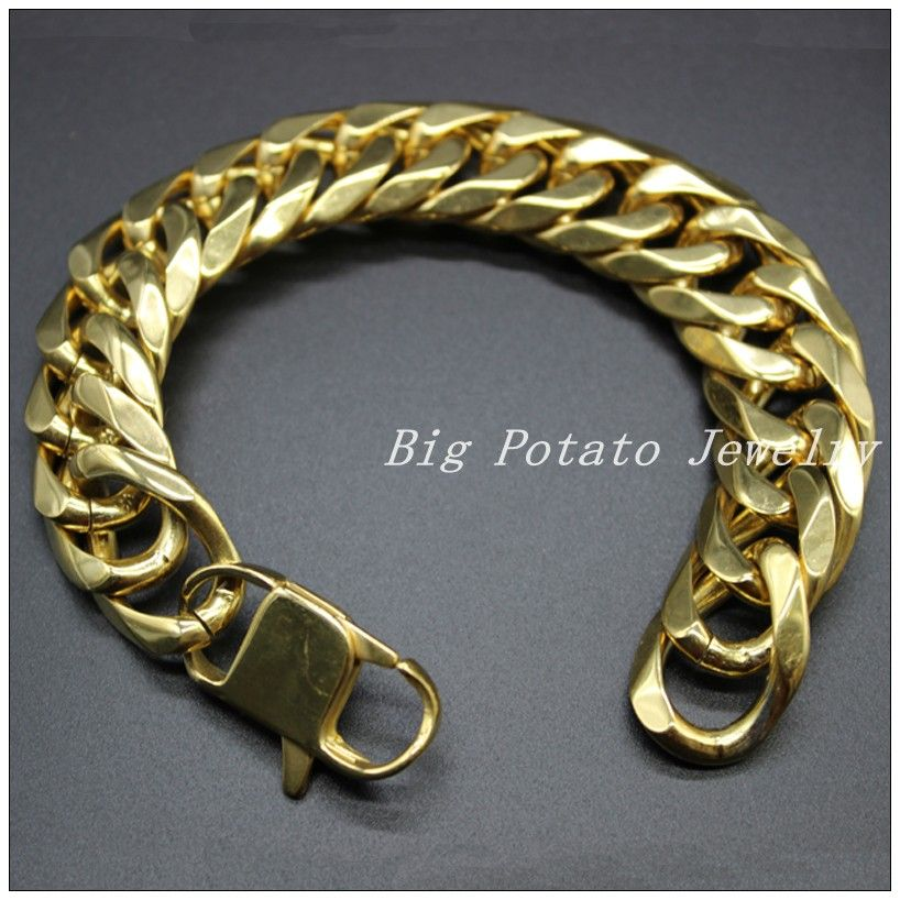 Top Design Stainless Steel Yellow Gold Curb Cuban Chain Highly ...
