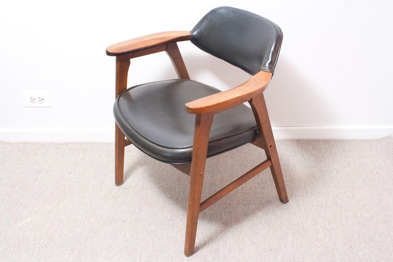 Pair Mid Century Modern Chairs Black Gunlocke Paoli Armchairs