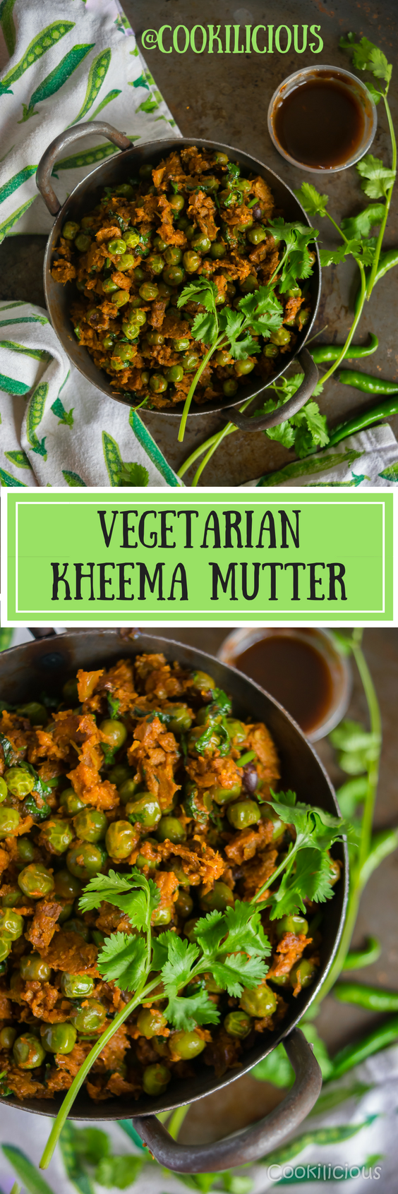 A hearty, aromatic Indian vegetarian/vegan curry made with Chipotle Black Bean Crumbles & green peas. One great way to incorporate protein into your diet is by converting a meat recipe to meatless without compromising on its taste & this dish delivers just that.  via @cookiliciousveg