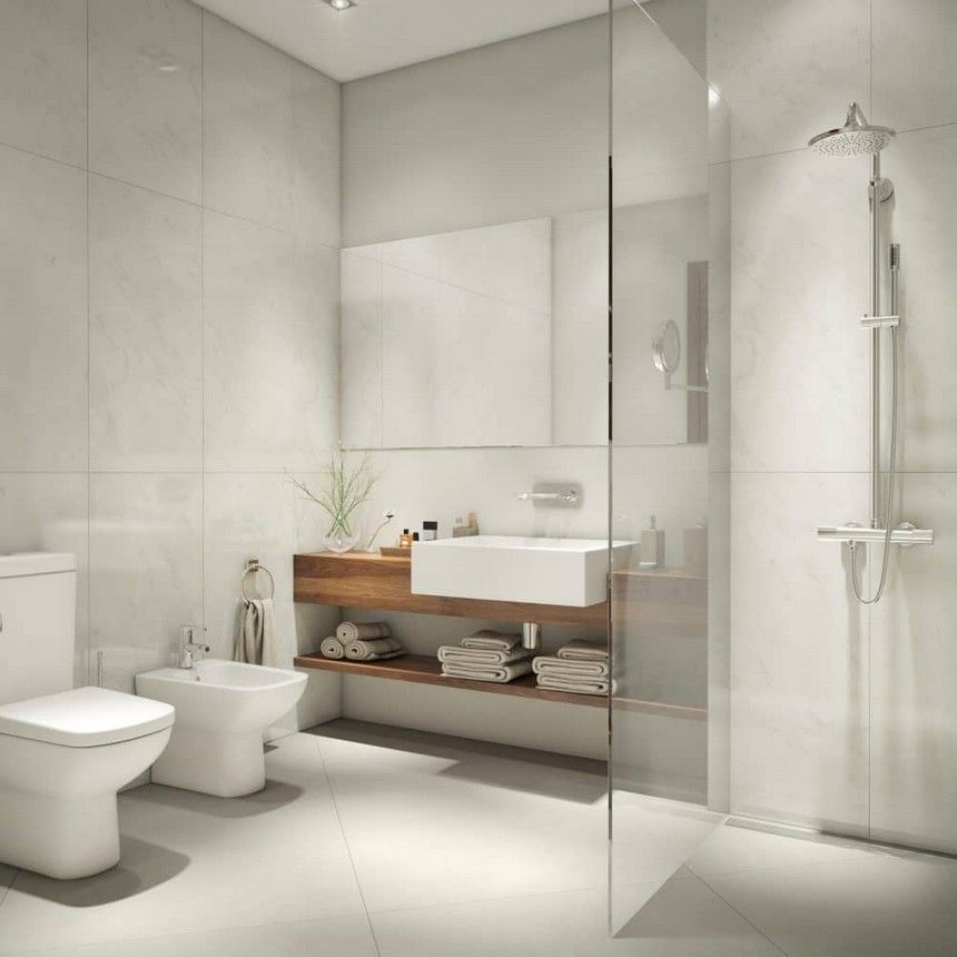 7 Minimalist Scandinavian Style Bathroom Interior Design Big Wash Basin Rain Shower Cabin Glass Mirror Towel Shelf Storage Toilet Bowl Bidet White American
