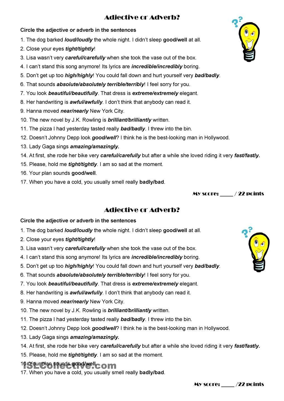 worksheet Adjective And Adverb Worksheets adjective or adverb language pinterest adverbs worksheets worksheet free esl printable made by teachers