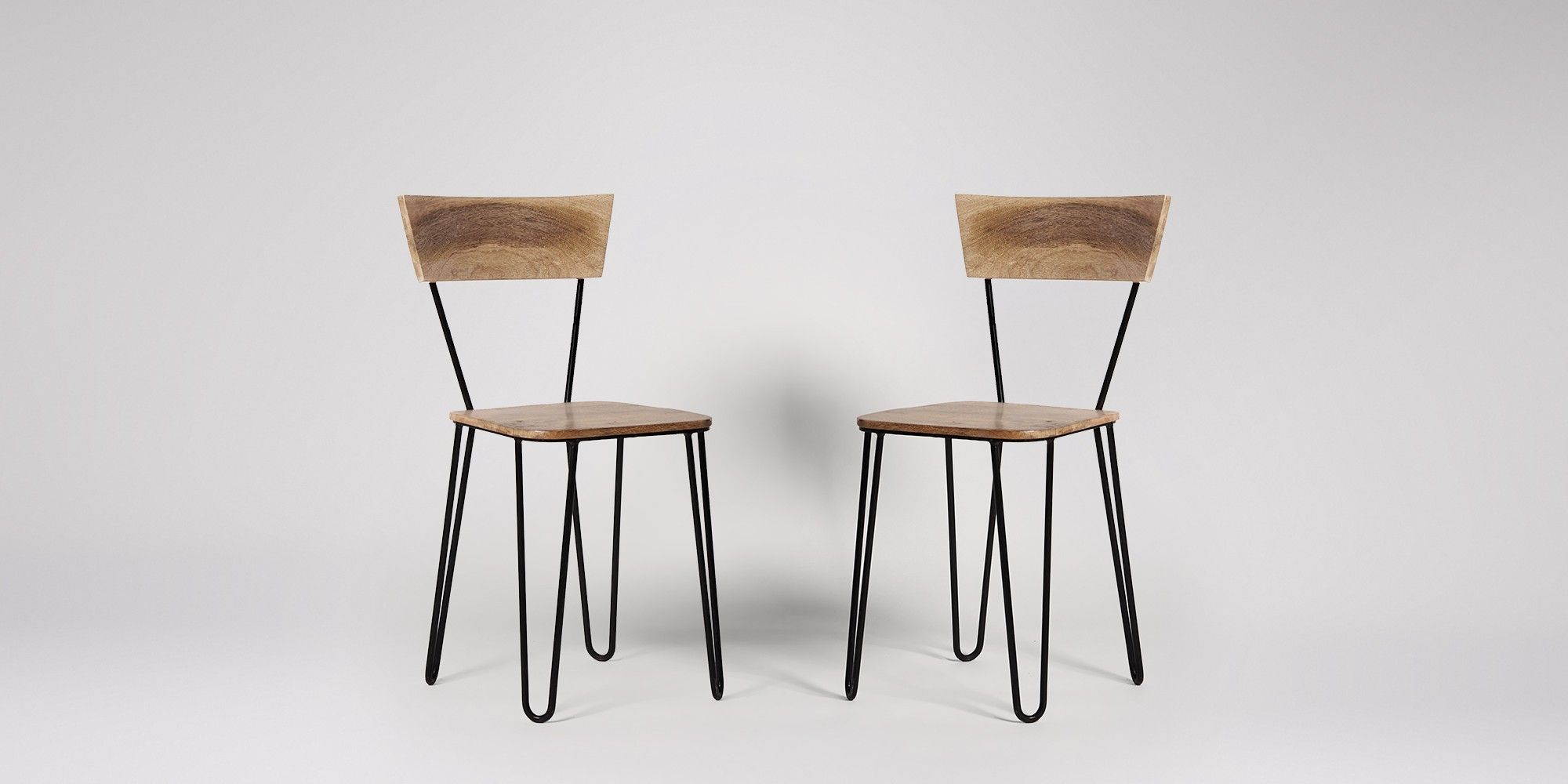 Swoon Editions Dining chair industrial style in mango wood and
