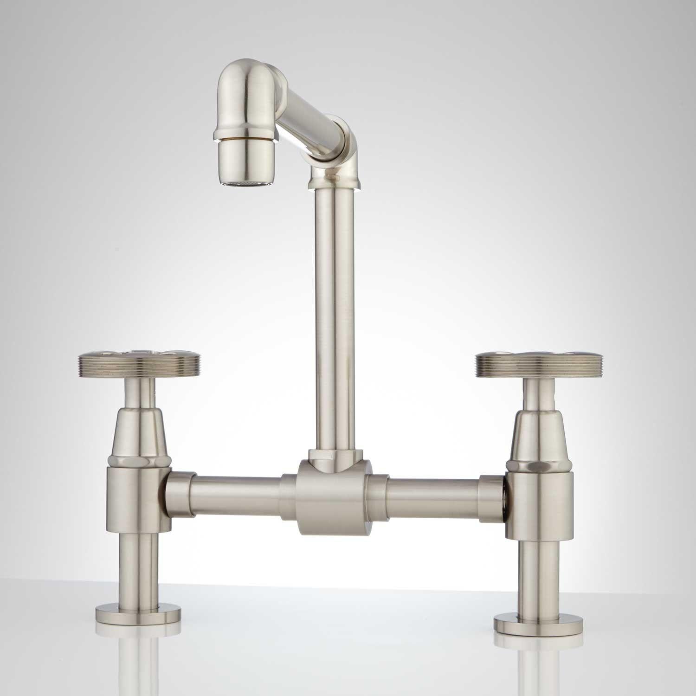 Edison Bridge Bathroom Faucet with Pop Up Drain