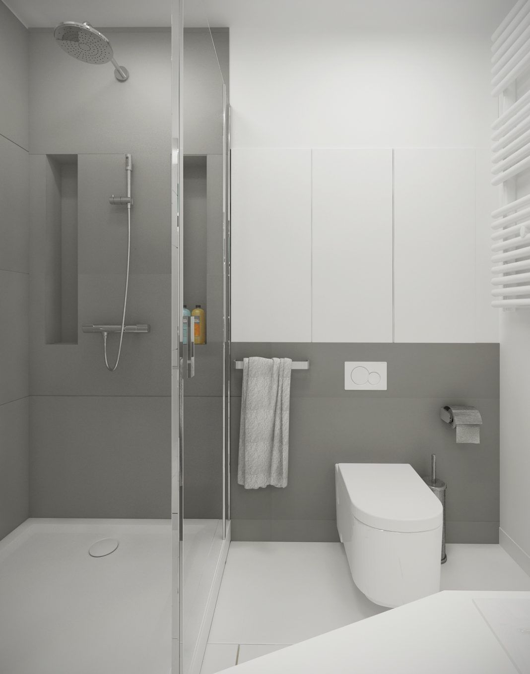 A Suitable Simple Small Bathroom Designs Looks So Perfect And Spacious With A Smart Decor Ideas In It Gray And White Bathroom Bathroom Design Small Simple Small Bathroom Designs