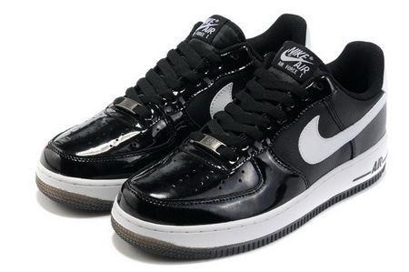 Nike Air Force 1 Low Patent Leather Black White #Black