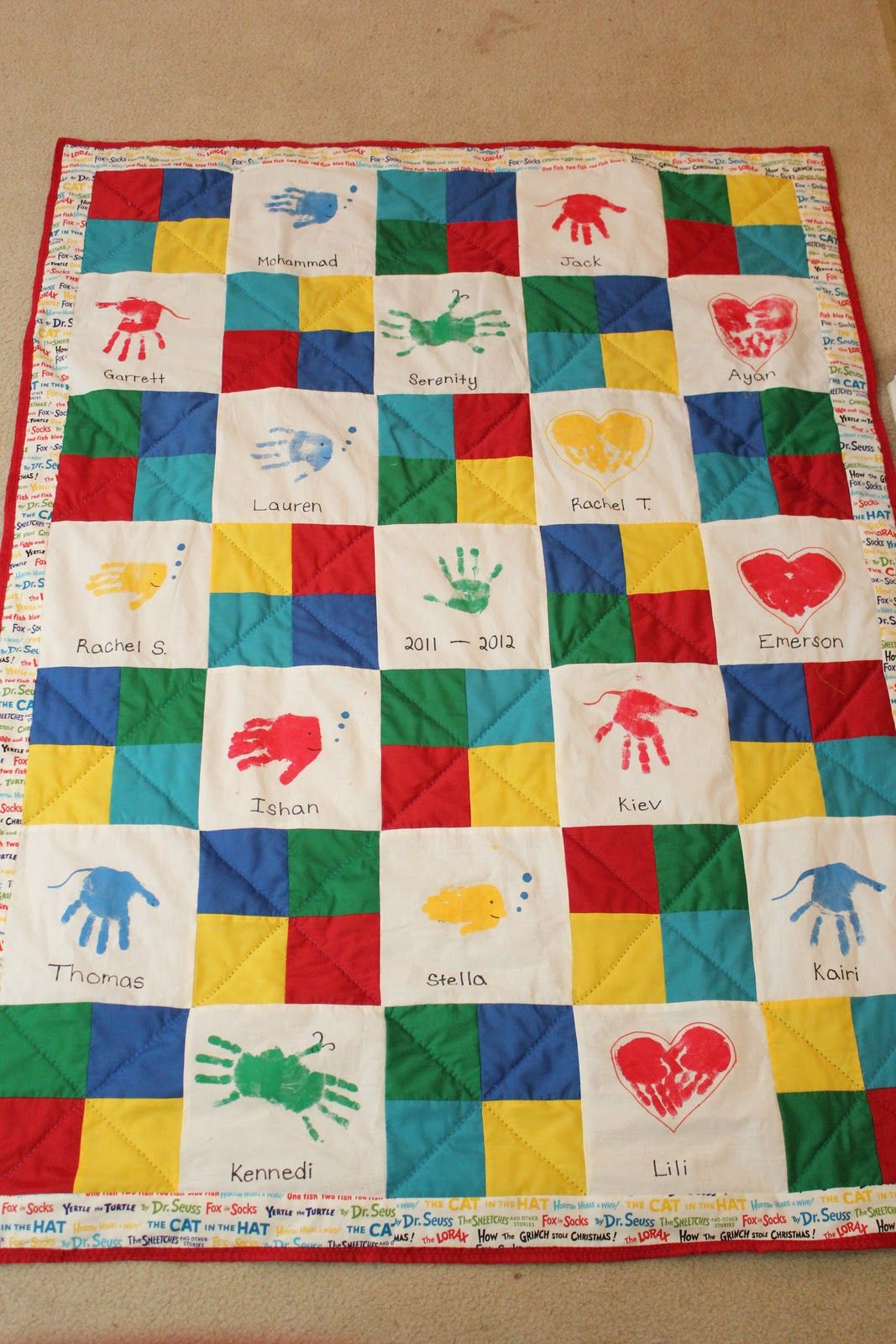 class quilt project | Class Art Auction Handprint Quilt | Class ... : classroom quilt ideas - Adamdwight.com