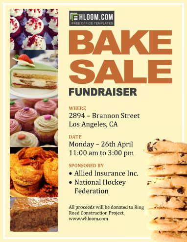 Bake Sale Fundraiser - Free Flyer Template By Hloom.Com | Bake