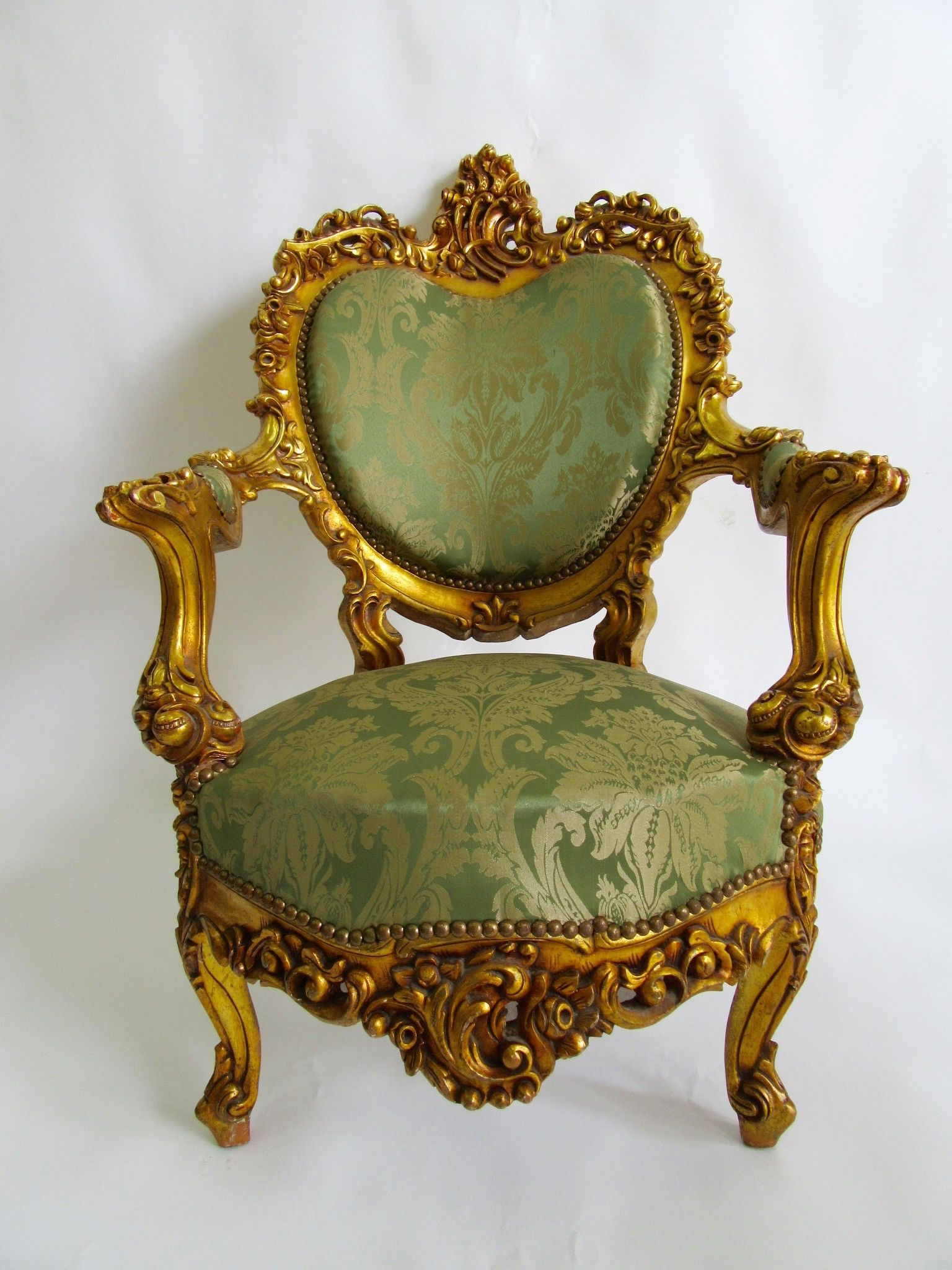 Baroque Antique French Style Rococo Chair Green and Gold $675