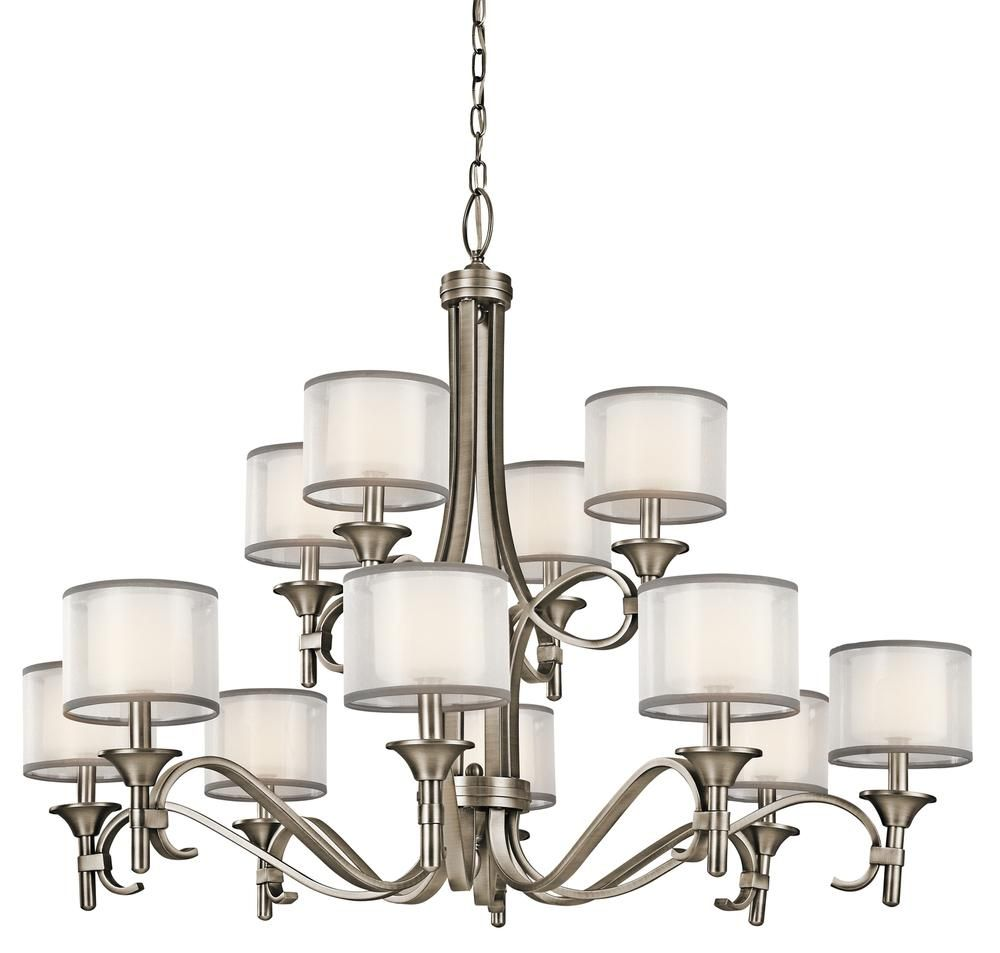 Kichler 42383ap lacey chandelier 12lt in antique pewter antique chandelier 12lt arubaitofo Choice Image