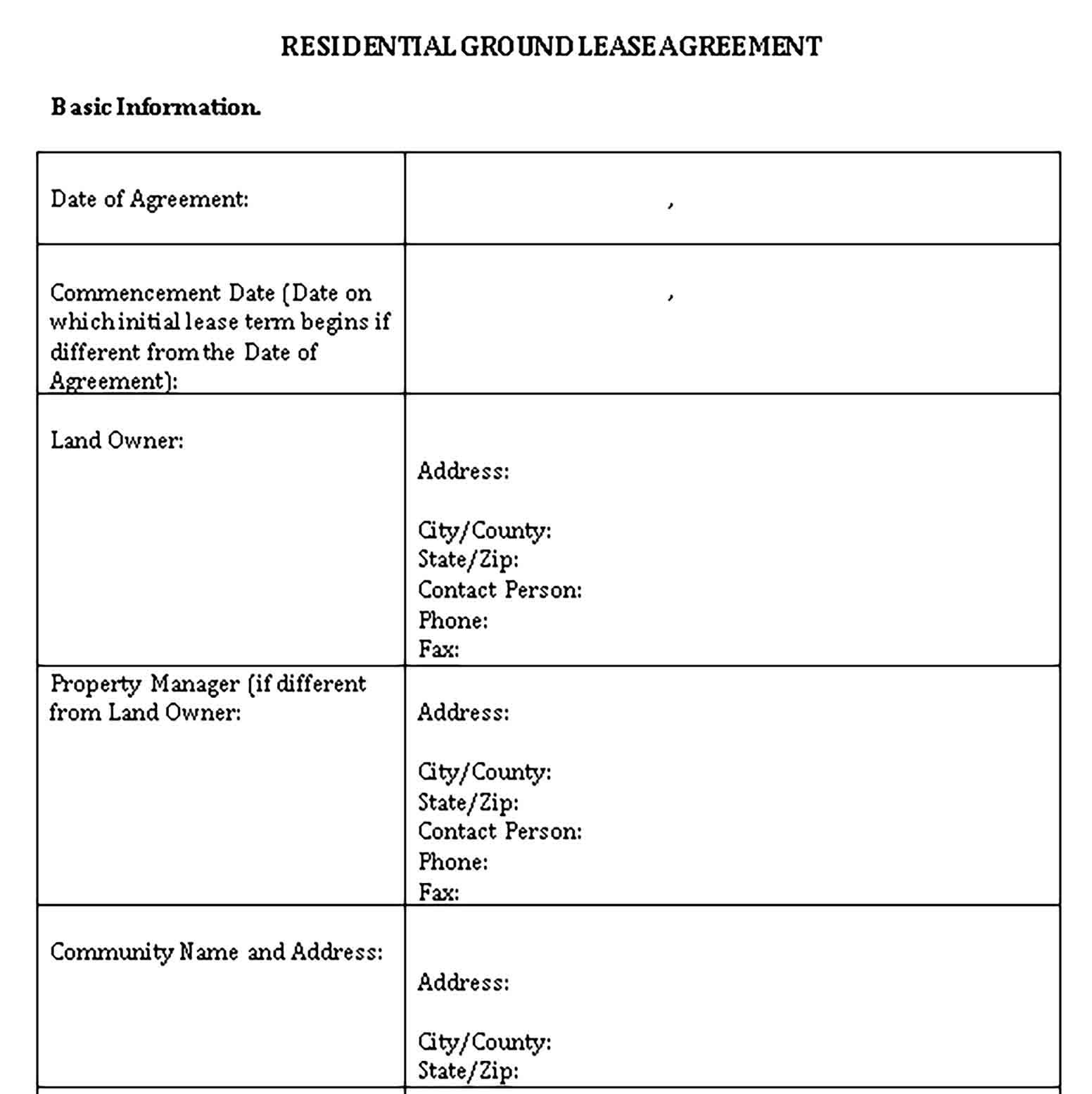 Land Lease Agreement Template Sample Lease Agreement Templates Business Template Simple land lease agreement template