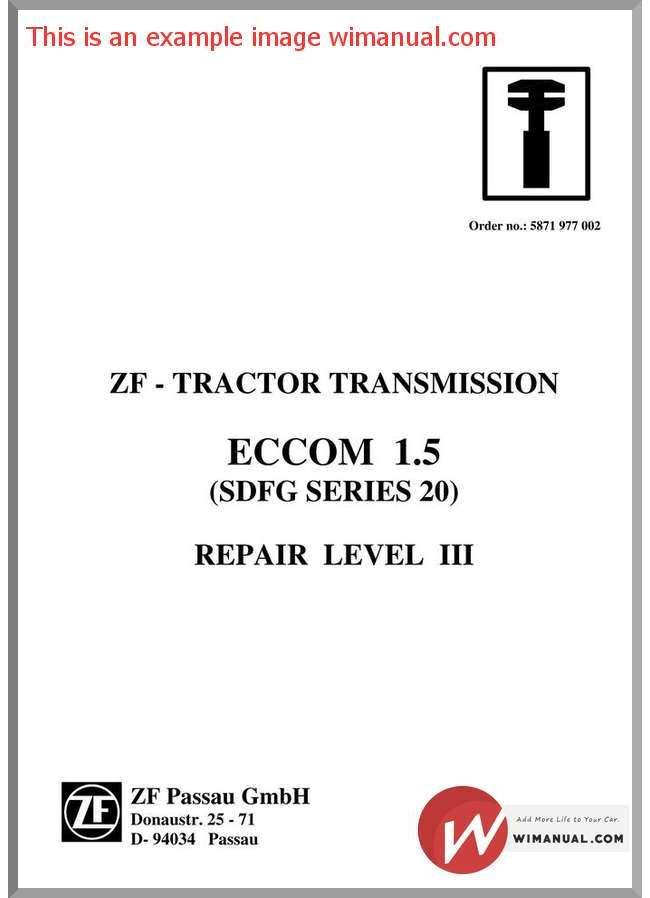 Zf Transmission Eccom 1 5 Workshop Manual pdf download  This manual