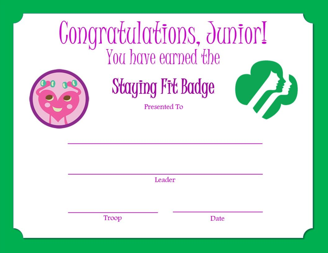 Junior Staying Fit Badge Certificate Junior Girl Scouts Girl