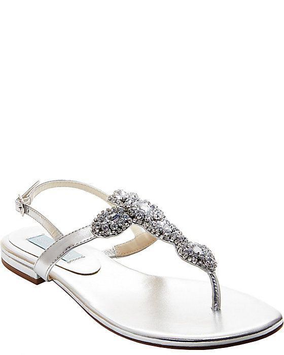 6fef73d3335b15 Betsey Johnson - Something Blue - GEM SILVER Women s Sandal Flat Ankle  Strap (shoes to change into)