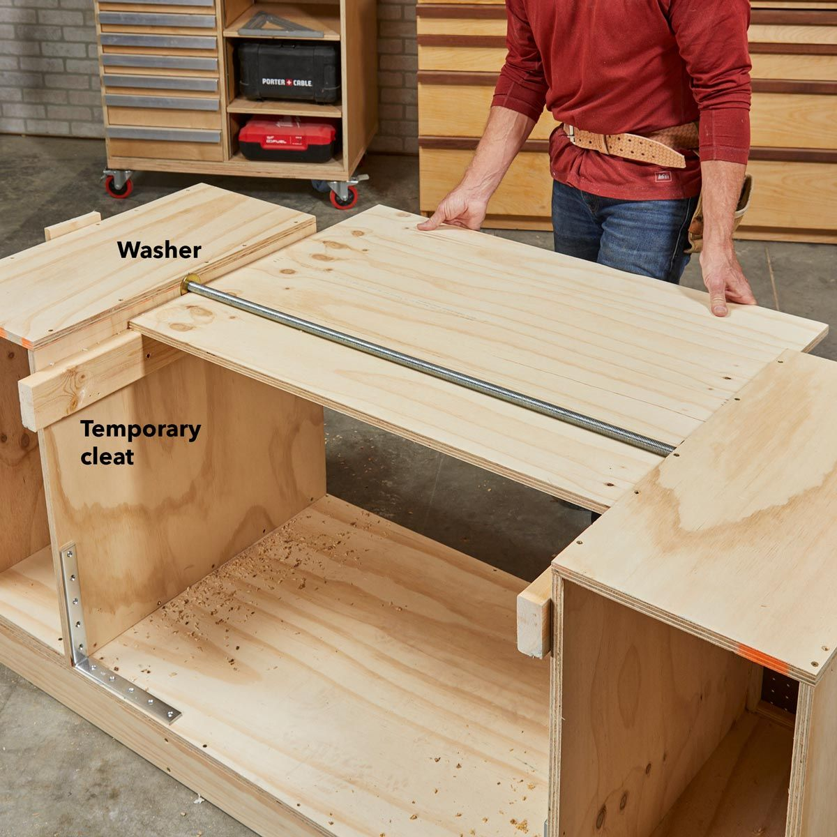 How To Build A Space Saving Flip Top Workbench Workbench Designs Workbench Garage Work Bench