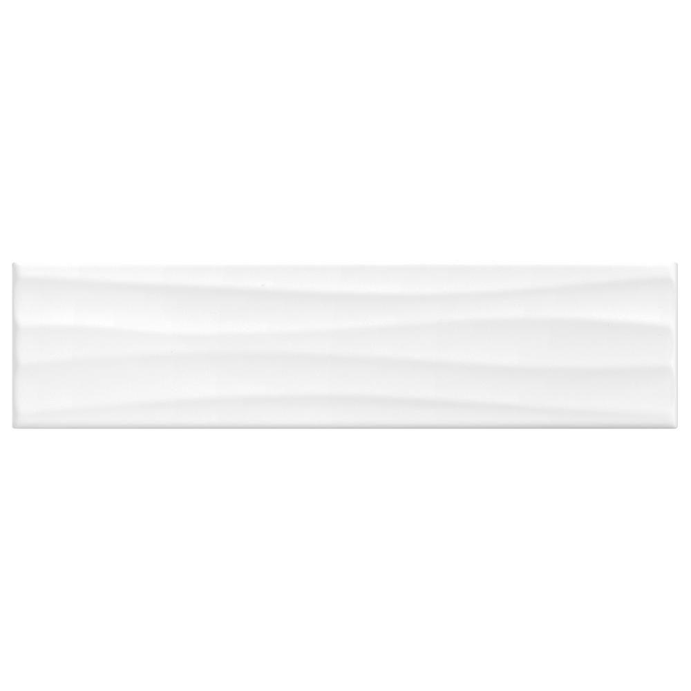 Daltile Finesse Bright White 4 In X 16 In Ceramic Wavy