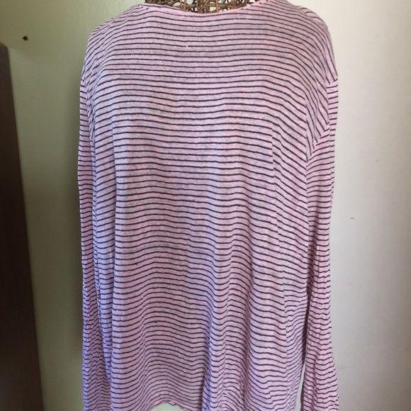 Pink linen long sleeve tee shirt Excellent condition. Linen striped top GAP Tops Tees - Long Sleeve