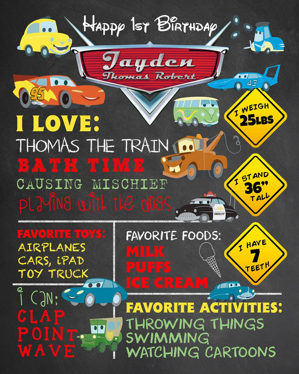 CARS 3 PARTY GAME POSTER ~ Birthday Supplies Decorations Activity Board Movie