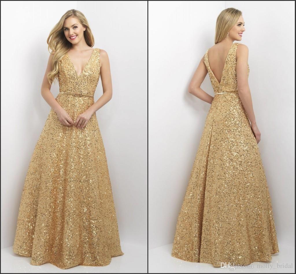 Sparkly Sequined Evening Prom Dresses Long 2017 V-neck