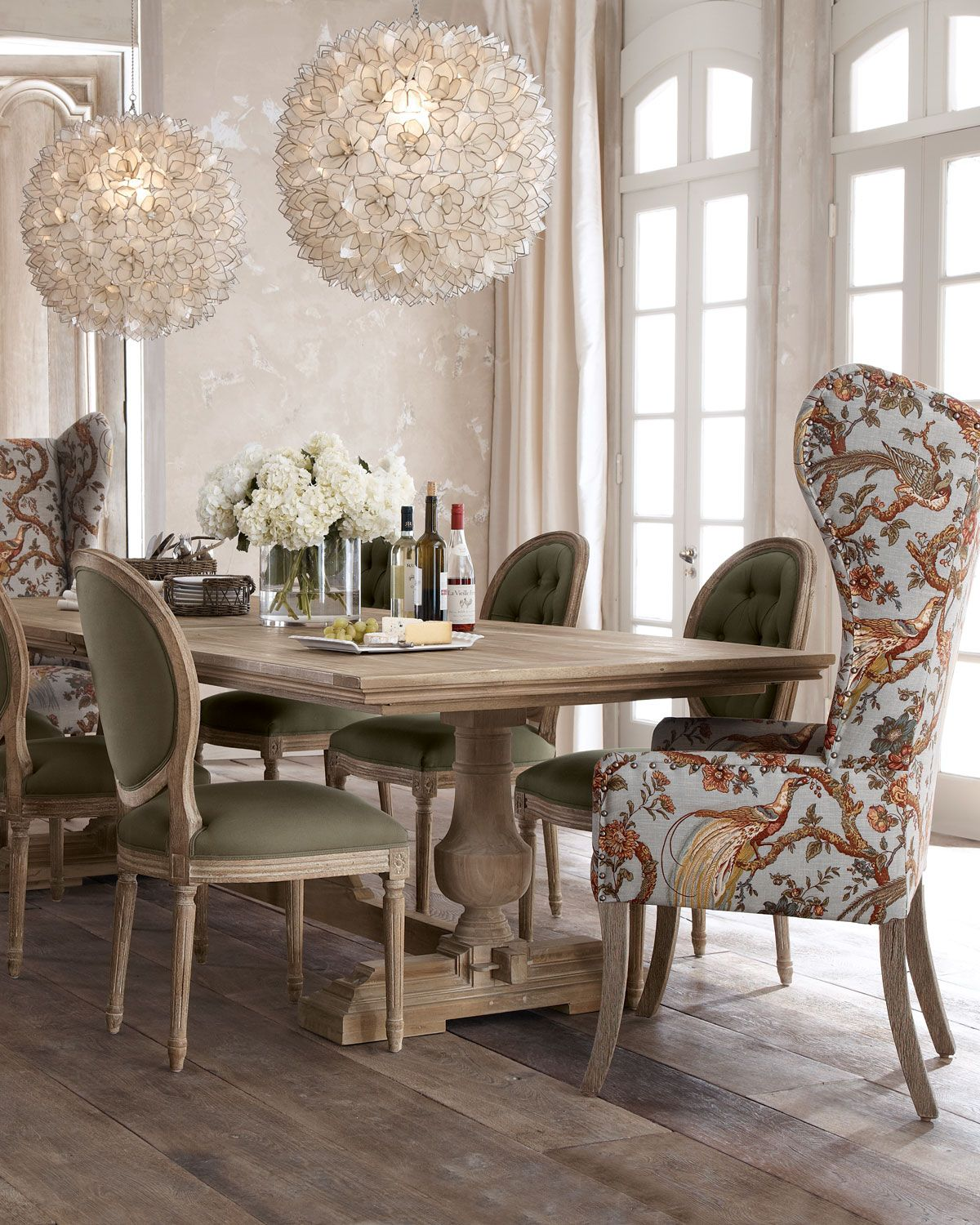 love the fabric on the host chairs and the modern element of the pendant lights evelyn dining table blanchett side chair and pheasant host chair at
