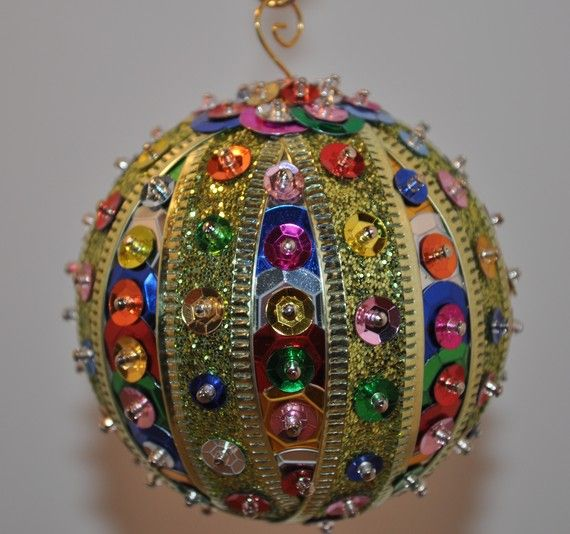 Multicolored sequins ornament by TreeJewels on Etsy, $12.50