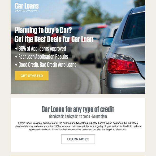 car loan pay per click converting landing page design auto - copy car blueprint website