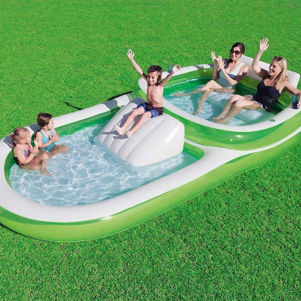 2 In 1 Family Pool And Slide Water Fun Kid Seat Backrest Cup