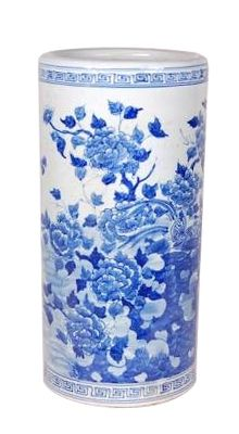 Blue and White Chinese Porcelain Umbrella Stand