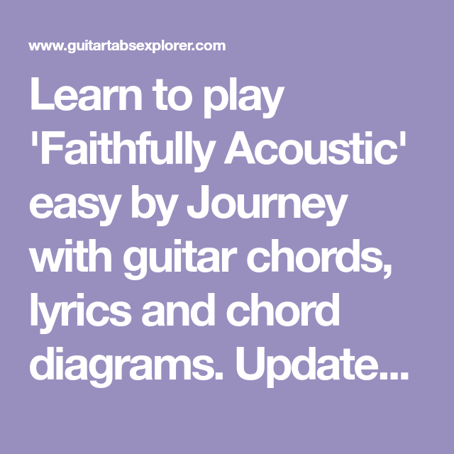 Learn To Play Faithfully Acoustic Easy By Journey With Guitar