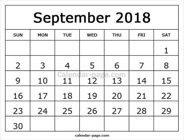 Free Print Template For Calendar 2018 September Month Pinterest