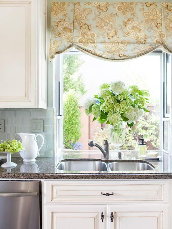 A valance adds color to a charming kitchen window. More window treatment styles: http://www.bhg.com/decorating/window-treatments/basics/window-treatment-styles/?socsrc=bhgpin061712#page=3