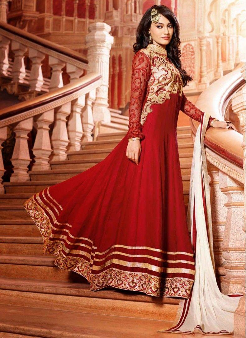 Red heavy bridal anarkali frock 7 suitanarkali in - Surbhi Jyoti Outstanding Red Floor Anarkali Suit