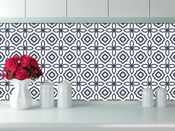 Removable Wallpaper Tiles mexican tile wallpaper - navy blue tile pattern removable