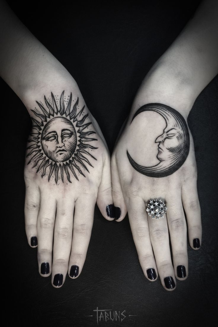 Moon And Sun Hand Tattoo Tattooed Pinterest Hand Tattoos Moon Tattoo Tattoos