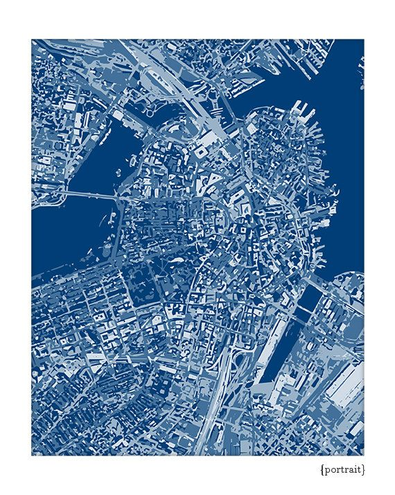 Boston Cityscape Massachusetts Graphic City Map Art Digital Print