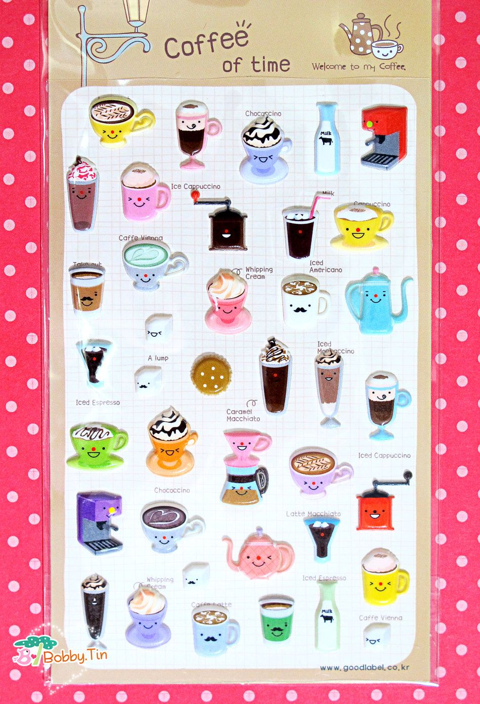 Coffee Puffy Stickers - Scrapbooking Card-making kawaii food food stickers cappuccino cup tea pot tea cup tea time August 12 2015 at 09:35PM
